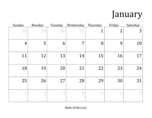 The Monthly General Year Calendar with January 1 on Thursday (E) Math Worksheet