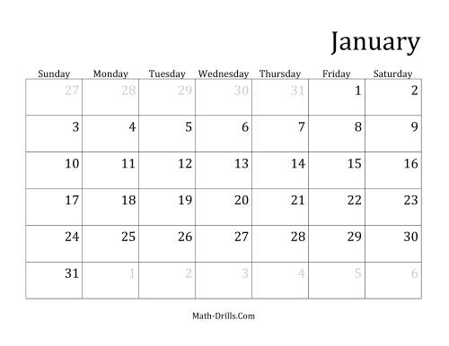 The Monthly General Year Calendar with January 1 on Friday (F)