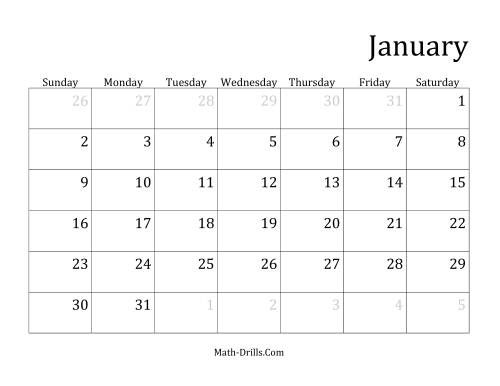 The Monthly General Year Calendar with January 1 on Saturday (G) Math Worksheet