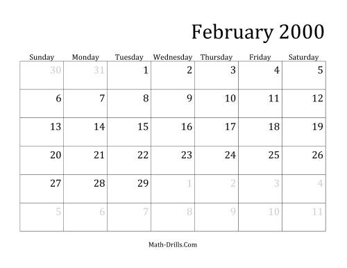 The 2000 Monthly Calendar Math Worksheet Page 2