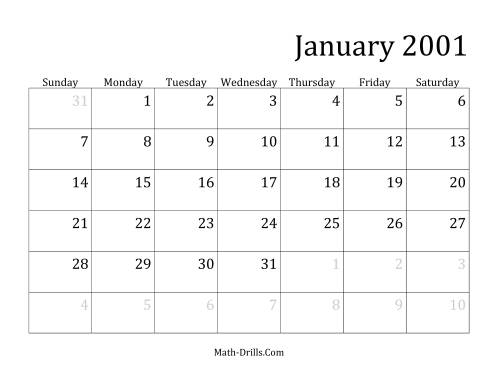 The 2001 Monthly Calendar Math Worksheet