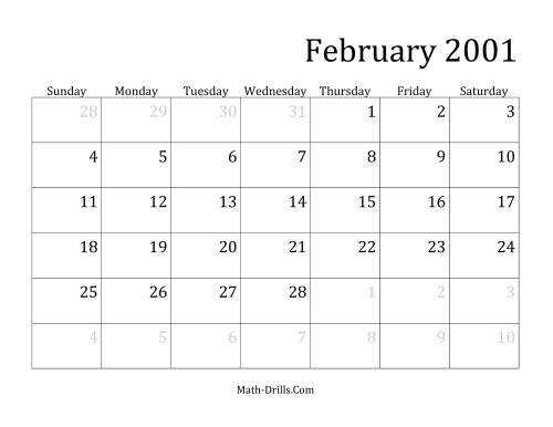 The 2001 Monthly Calendar Math Worksheet Page 2