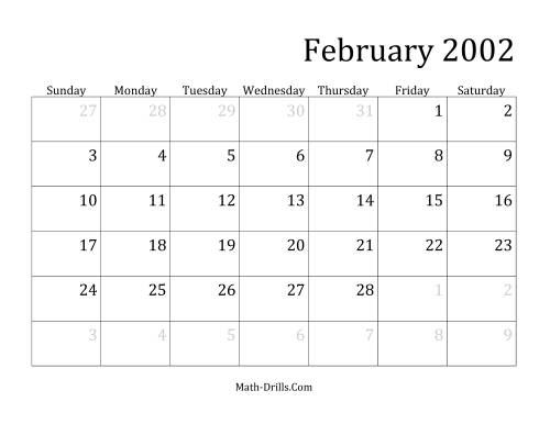 The 2002 Monthly Calendar Math Worksheet Page 2