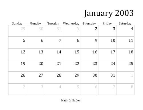 The 2003 Monthly Calendar Math Worksheet