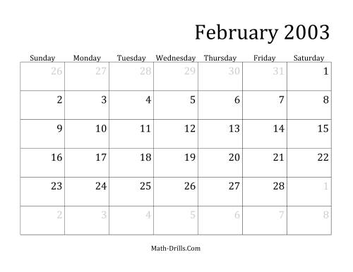 The 2003 Monthly Calendar Math Worksheet Page 2