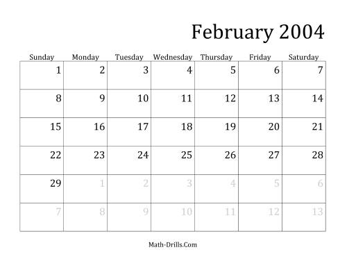 The 2004 Monthly Calendar Math Worksheet Page 2
