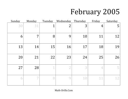 The 2005 Monthly Calendar Math Worksheet Page 2
