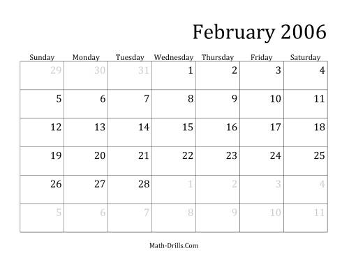 The 2006 Monthly Calendar Math Worksheet Page 2