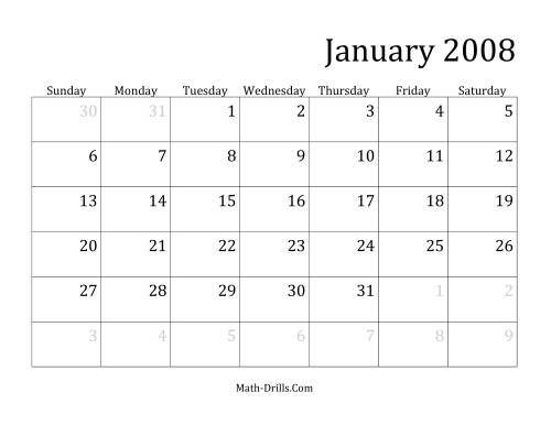 The 2008 Monthly Calendar Math Worksheet