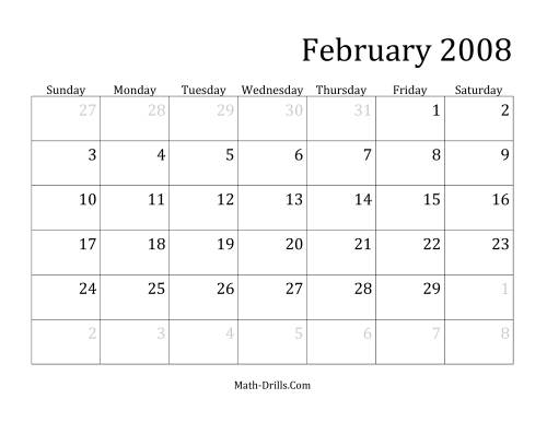 The 2008 Monthly Calendar Math Worksheet Page 2