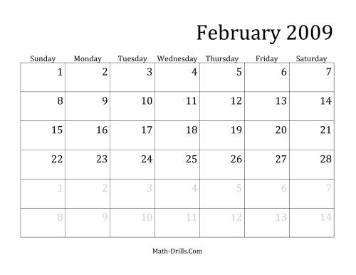 The 2009 Monthly Calendar Math Worksheet Page 2