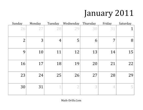 The 2011 Monthly Calendar Math Worksheet