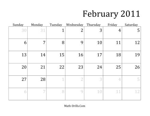 The 2011 Monthly Calendar Math Worksheet Page 2