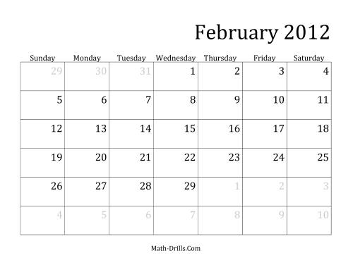 The 2012 Monthly Calendar Math Worksheet Page 2