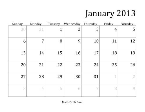 The 2013 Monthly Calendar Math Worksheet