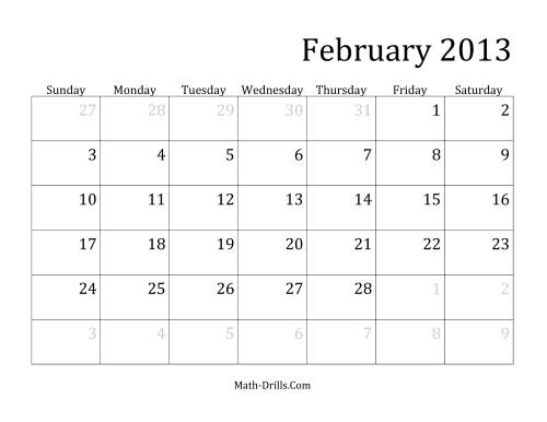The 2013 Monthly Calendar Math Worksheet Page 2