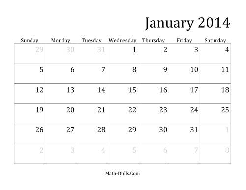 The 2014 Monthly Calendar Math Worksheet