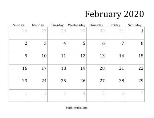 The 2020 Monthly Calendar Math Worksheet Page 2