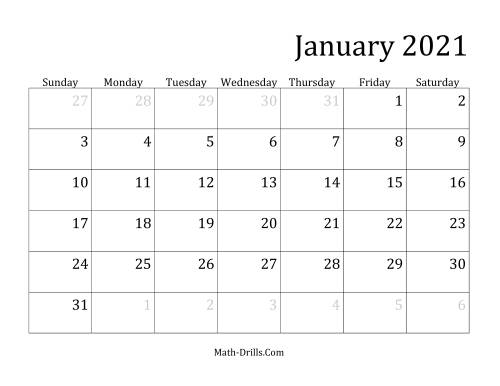 The 2021 Monthly Calendar