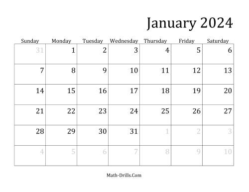 The 2024 Monthly Calendar Math Worksheet