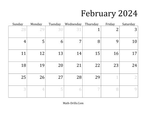 The 2024 Monthly Calendar Math Worksheet Page 2