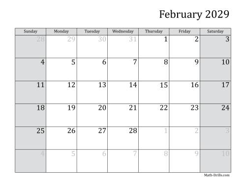 The 2029 Monthly Calendar Math Worksheet Page 2