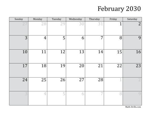 The 2030 Monthly Calendar Math Worksheet Page 2