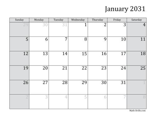 The 2031 Monthly Calendar Math Worksheet