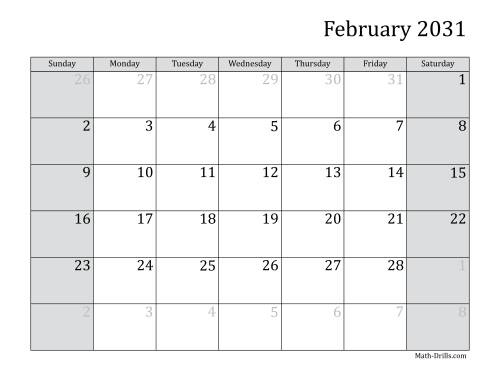 The 2031 Monthly Calendar Math Worksheet Page 2
