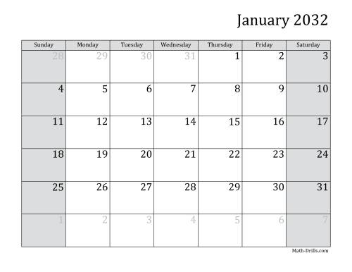 The 2032 Monthly Calendar Math Worksheet