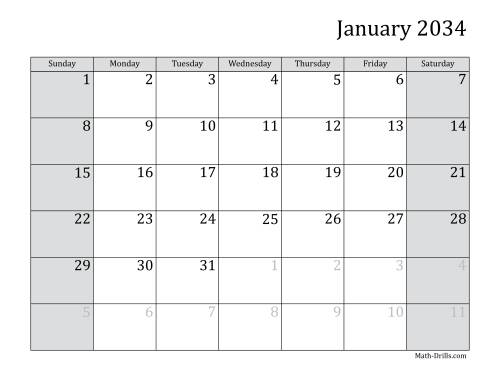 The 2034 Monthly Calendar Math Worksheet