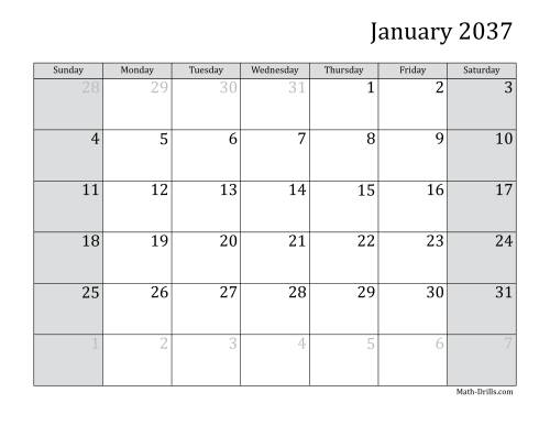 The 2037 Monthly Calendar Math Worksheet