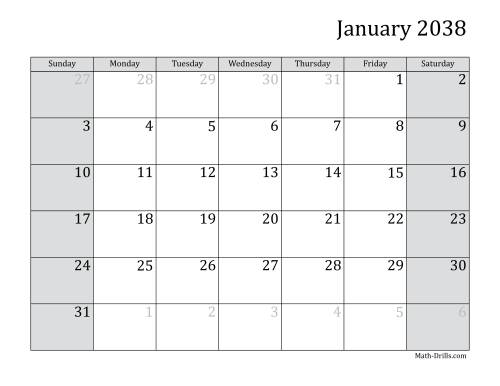 The 2038 Monthly Calendar Math Worksheet