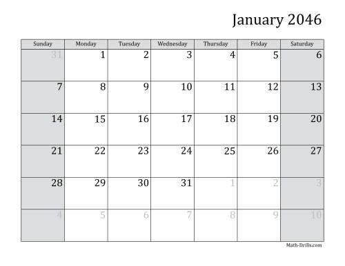 The 2046 Monthly Calendar Math Worksheet