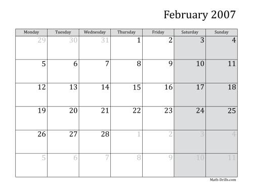 The 2007 Monthly Calendar with Monday as the First Day Math Worksheet Page 2