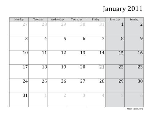 The 2011 Monthly Calendar with Monday as the First Day Math Worksheet
