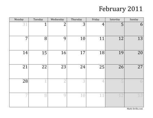The 2011 Monthly Calendar with Monday as the First Day Math Worksheet Page 2