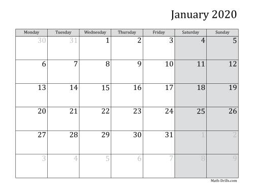 The 2020 Monthly Calendar with Monday as the First Day Math Worksheet