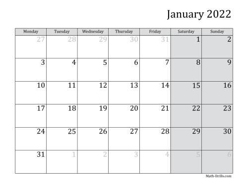 The 2022 Monthly Calendar with Monday as the First Day Math Worksheet