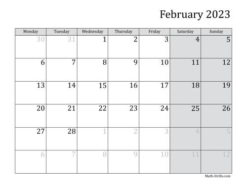 The 2023 Monthly Calendar with Monday as the First Day Math Worksheet Page 2