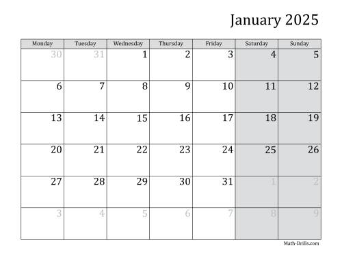 The 2025 Monthly Calendar with Monday as the First Day Math Worksheet
