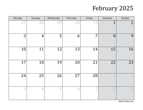 The 2025 Monthly Calendar with Monday as the First Day Math Worksheet Page 2