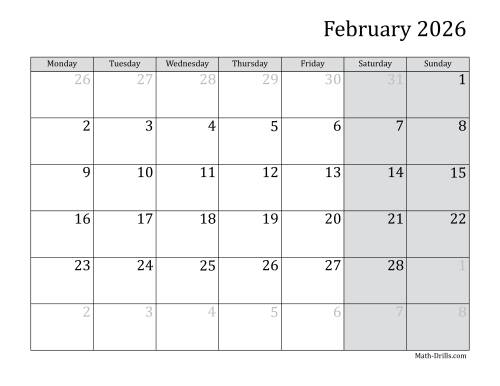 The 2026 Monthly Calendar with Monday as the First Day Math Worksheet Page 2