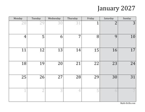 The 2027 Monthly Calendar with Monday as the First Day Math Worksheet