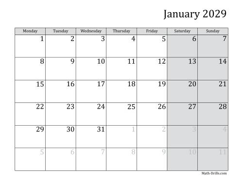 The 2029 Monthly Calendar with Monday as the First Day Math Worksheet