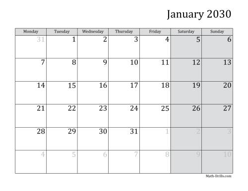 The 2030 Monthly Calendar with Monday as the First Day Math Worksheet