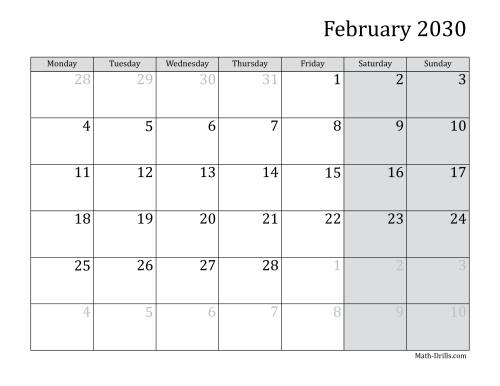 The 2030 Monthly Calendar with Monday as the First Day Math Worksheet Page 2