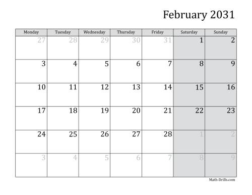 The 2031 Monthly Calendar with Monday as the First Day Math Worksheet Page 2