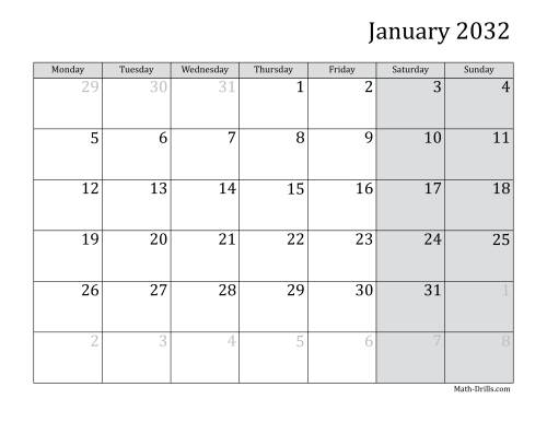 The 2032 Monthly Calendar with Monday as the First Day Math Worksheet