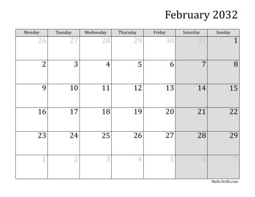 The 2032 Monthly Calendar with Monday as the First Day Math Worksheet Page 2